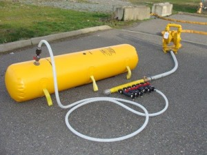 Filling Lifeboat Bag using Manifold